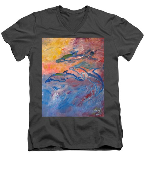 Soaring Dolphins Men's V-Neck T-Shirt by Meryl Goudey