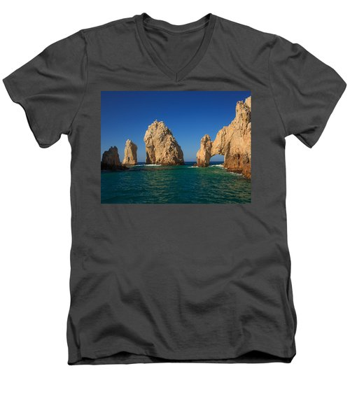 The Sea Arch El Arco De Cabo San Lucas Men's V-Neck T-Shirt