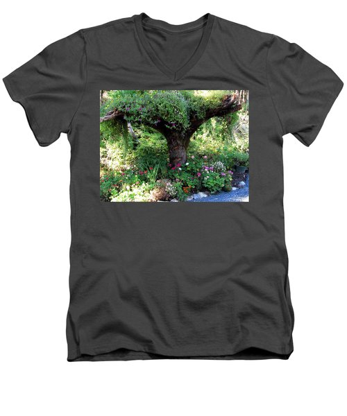 Men's V-Neck T-Shirt featuring the photograph  Upside Down Tree by Jennifer Wheatley Wolf