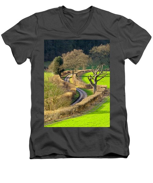 Winding Country Lane Men's V-Neck T-Shirt
