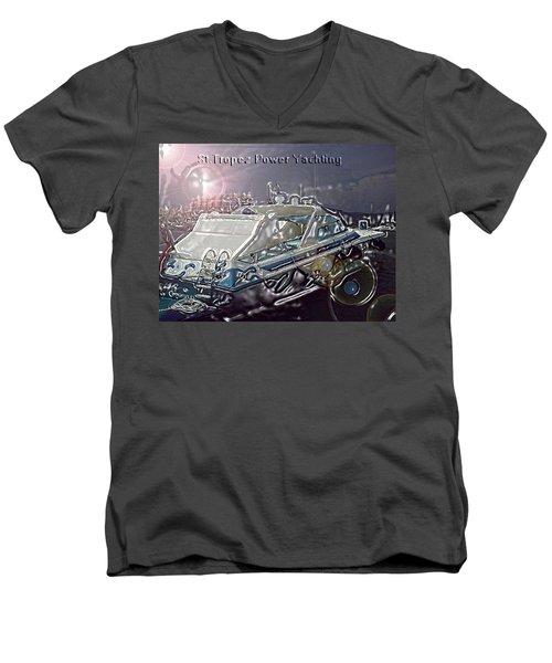 Men's V-Neck T-Shirt featuring the digital art  Yacht Art by Rogerio Mariani