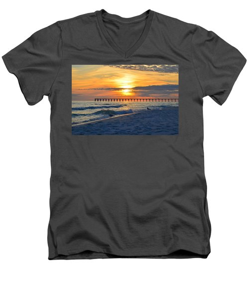 0108 Sunset Colors Over Navarre Pier On Navarre Beach With Gulls Men's V-Neck T-Shirt by Jeff at JSJ Photography