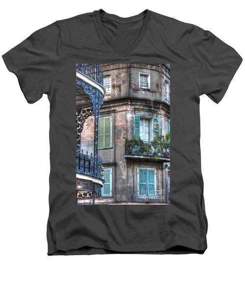 0254 French Quarter 10 - New Orleans Men's V-Neck T-Shirt by Steve Sturgill