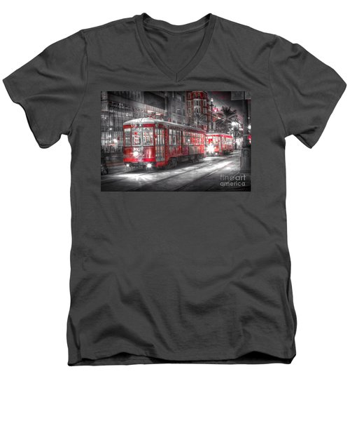 0271 Canal Street Trolley - New Orleans Men's V-Neck T-Shirt