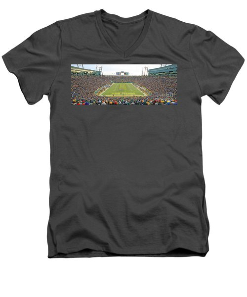 0349 Lambeau Field Panoramic Men's V-Neck T-Shirt by Steve Sturgill