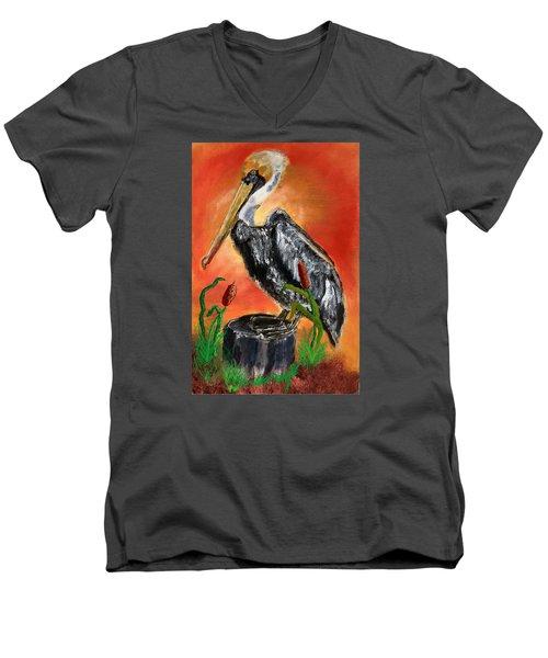 082914 Pelican Louisiana Pride Men's V-Neck T-Shirt by Garland Oldham
