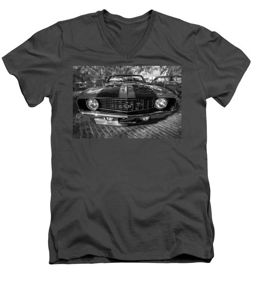 1969 Chevy Camaro Ss Painted Bw Men's V-Neck T-Shirt