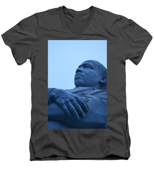 Men's V-Neck T-Shirt featuring the photograph A Blue Martin Luther King - 1 by Cora Wandel