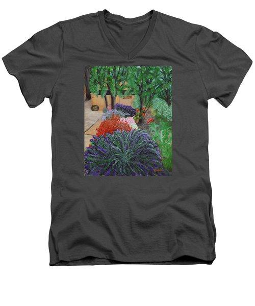 A Garden To Remember Men's V-Neck T-Shirt by Donna  Manaraze