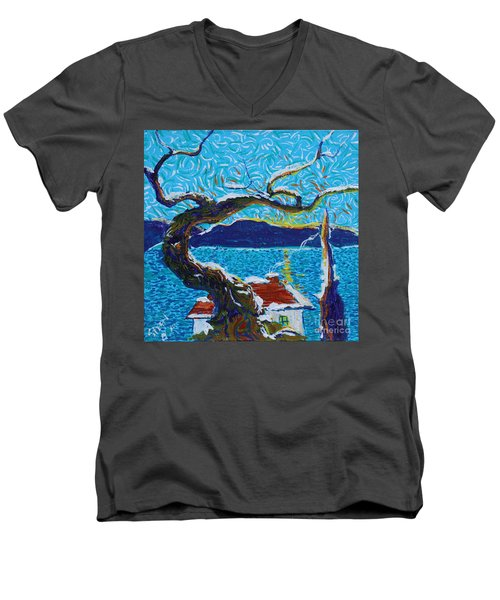 A River's Snow Men's V-Neck T-Shirt