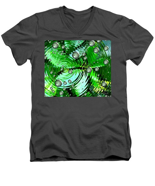 Amazing. Abstract Art. Green Grey  Blue Yellow  Men's V-Neck T-Shirt