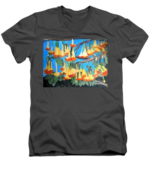 Men's V-Neck T-Shirt featuring the painting Angel Trumpets by Sandy McIntire
