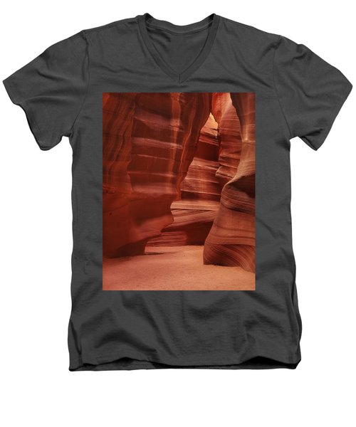 Antelope Slot Canyon Men's V-Neck T-Shirt by Andrew Soundarajan