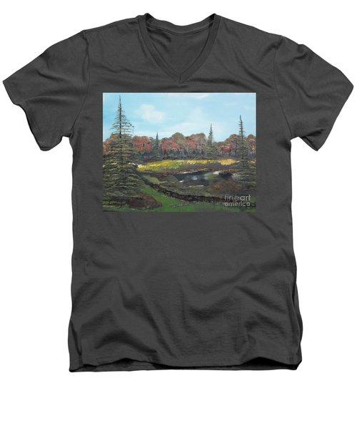 Autumn Landscape Men's V-Neck T-Shirt by Jan Dappen