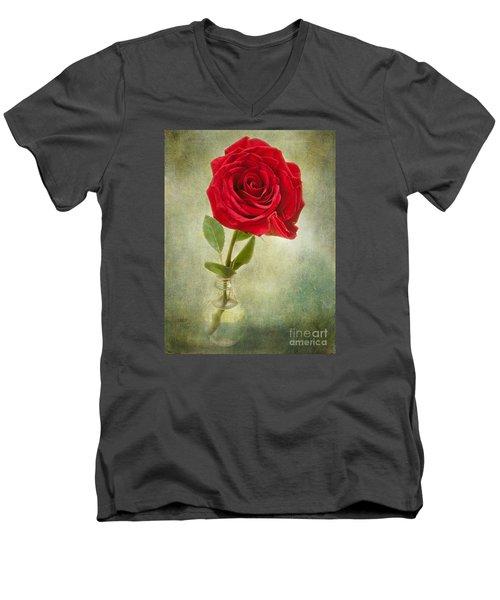 Beautiful Rose Men's V-Neck T-Shirt by Lena Auxier