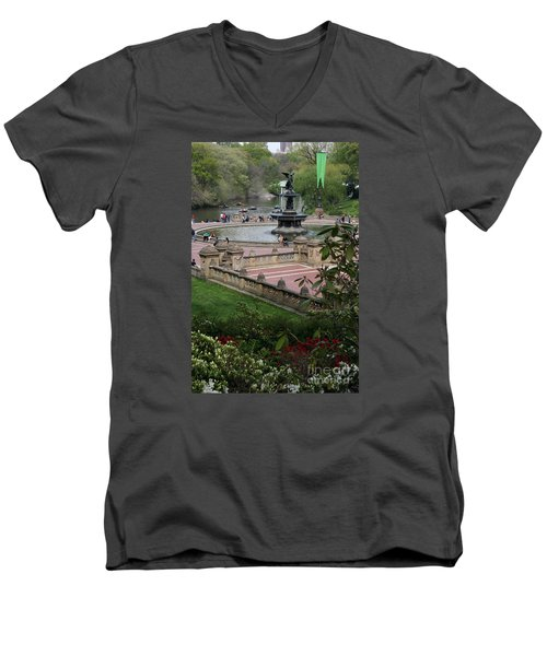 Bethesda Fountain - Central Park Nyc Men's V-Neck T-Shirt by Christiane Schulze Art And Photography