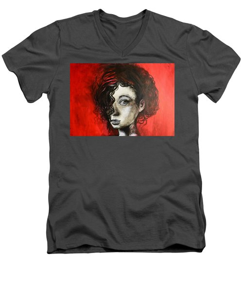 Men's V-Neck T-Shirt featuring the painting Black Portrait 23 by Sandro Ramani