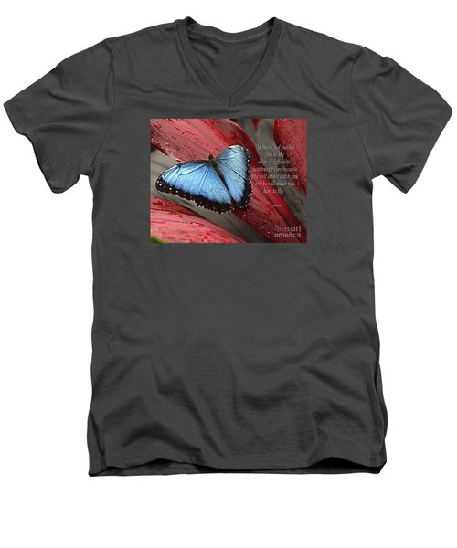 Blue Morpho 2 Men's V-Neck T-Shirt by Diane E Berry