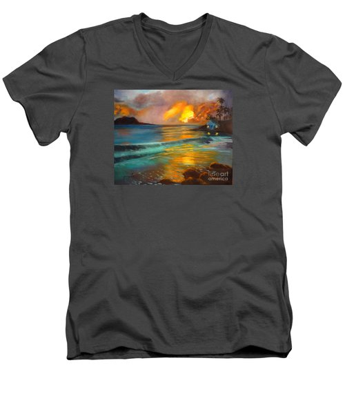 Men's V-Neck T-Shirt featuring the painting Blue Sunset by Jenny Lee
