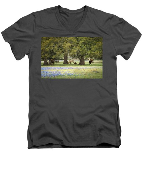 Bluebonnets And Bovines Men's V-Neck T-Shirt by Debbie Karnes