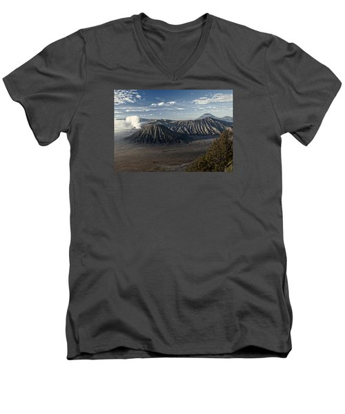 Bromo Mountain Men's V-Neck T-Shirt by Miguel Winterpacht