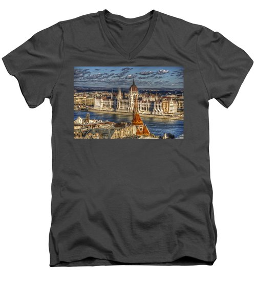 Buda Parliament  Men's V-Neck T-Shirt by Nathan Wright