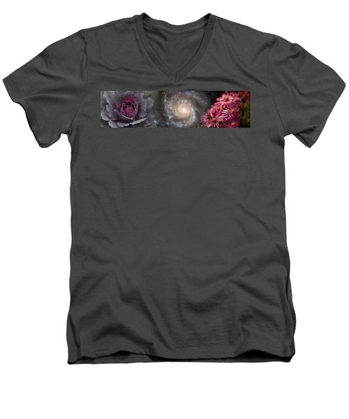 Cabbage With Galaxy And Pink Flowers Men's V-Neck T-Shirt by Panoramic Images