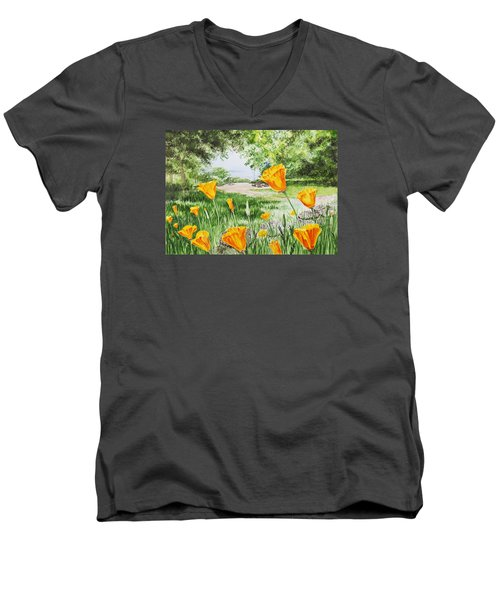 Men's V-Neck T-Shirt featuring the painting California Poppies by Irina Sztukowski