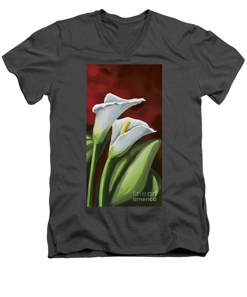 Men's V-Neck T-Shirt featuring the painting Calla Lilies  by Tim Gilliland