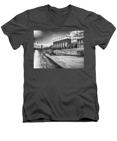 Men's V-Neck T-Shirt featuring the photograph Canal Walk by Howard Salmon