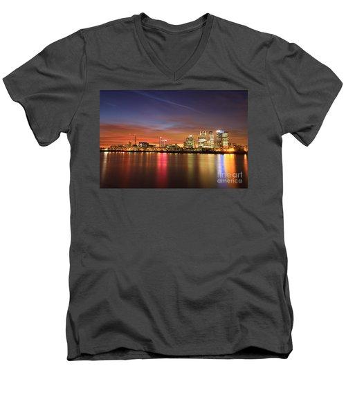 Men's V-Neck T-Shirt featuring the photograph Canary Wharf 2 by Mariusz Czajkowski