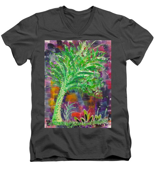 Men's V-Neck T-Shirt featuring the painting Celery Tree by Holly Carmichael