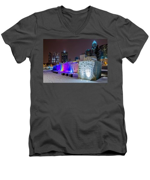 Charlotte Queen City Skyline Near Romare Bearden Park In Winter Snow Men's V-Neck T-Shirt