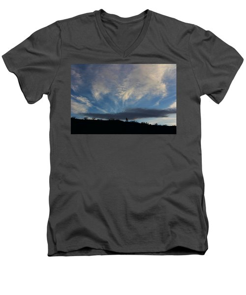 Men's V-Neck T-Shirt featuring the photograph Chase The Moonlight by Tammy Espino