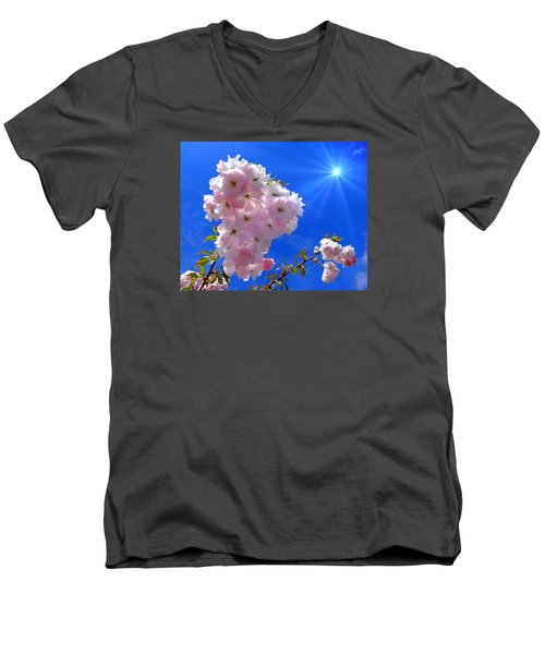 Men's V-Neck T-Shirt featuring the photograph Cherry Blossoms  by Nick Kloepping