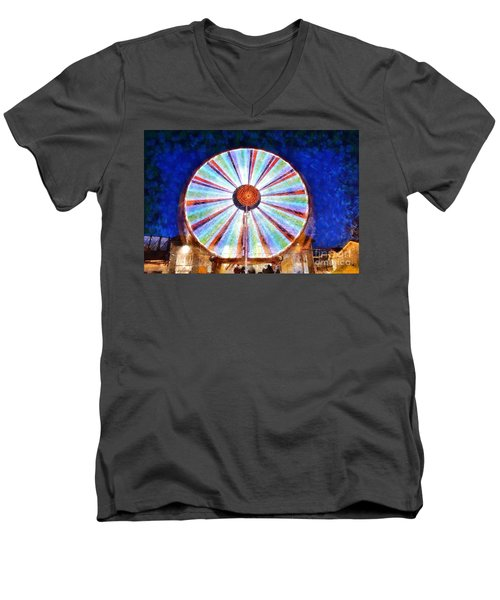 Men's V-Neck T-Shirt featuring the painting Christmas Ferris Wheel by George Atsametakis