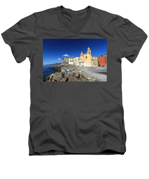 Men's V-Neck T-Shirt featuring the photograph church in Camogli by Antonio Scarpi