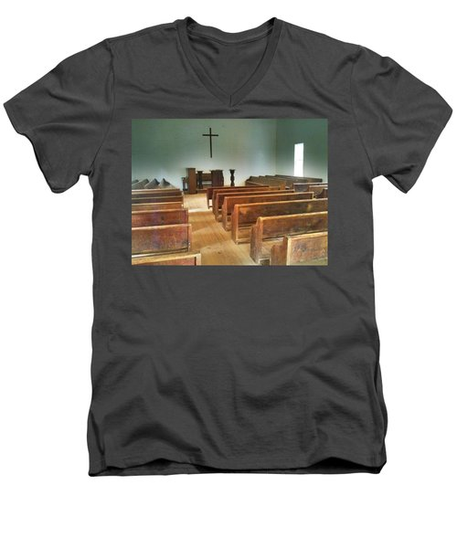Church Men's V-Neck T-Shirt by Janice Spivey