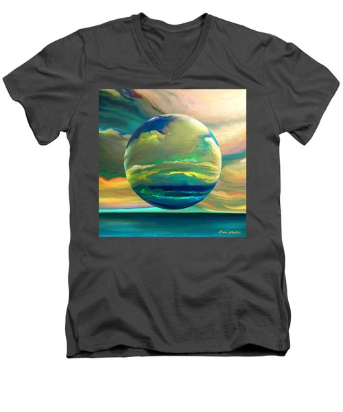 Men's V-Neck T-Shirt featuring the digital art Clouding The Poets Eye by Robin Moline