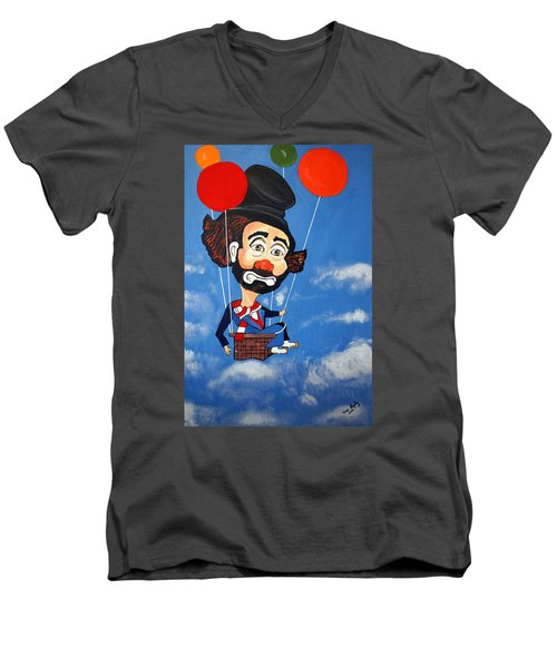 Men's V-Neck T-Shirt featuring the painting Clown Up Up And Away by Nora Shepley
