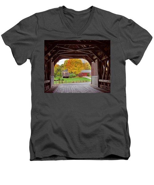 Covered Bridge In Autumn Men's V-Neck T-Shirt