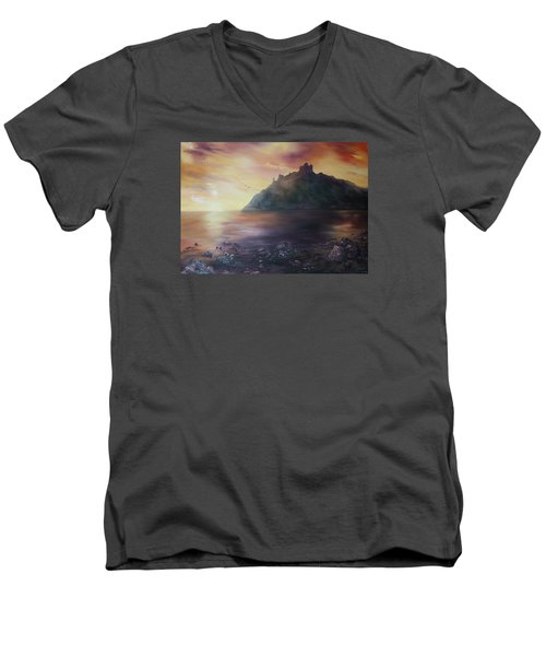 Men's V-Neck T-Shirt featuring the painting Criccieth Castle North Wales by Jean Walker