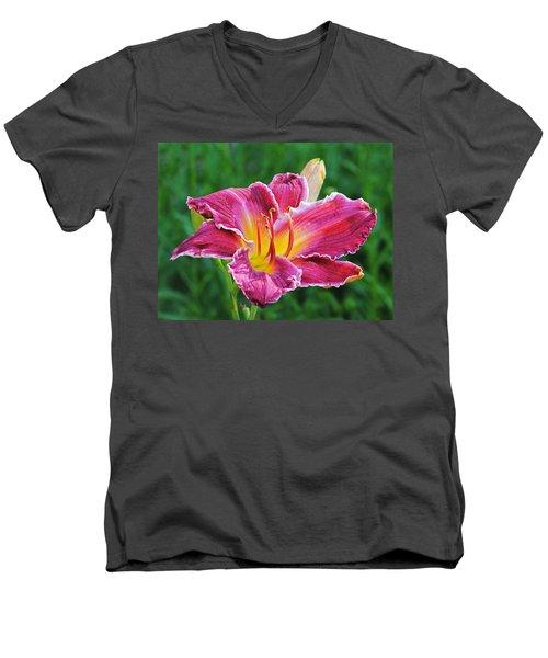 Crimson Day Lily Men's V-Neck T-Shirt