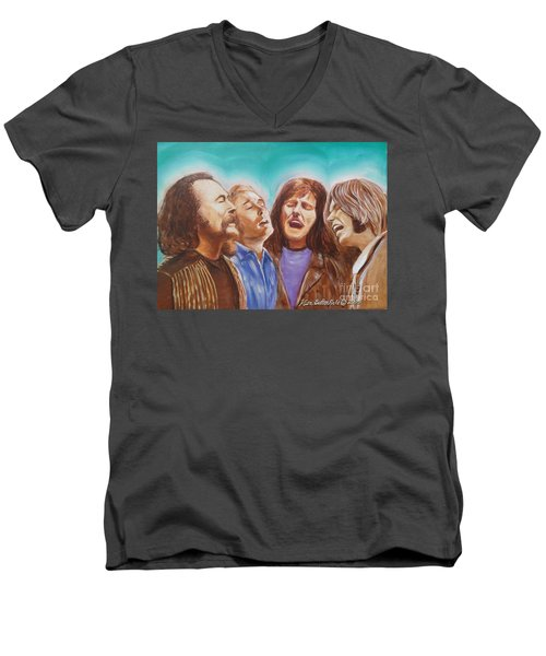 Crosby Stills Nash And Young Men's V-Neck T-Shirt by Kean Butterfield