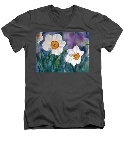 Men's V-Neck T-Shirt featuring the painting Daffodil Dream by Anna Ruzsan