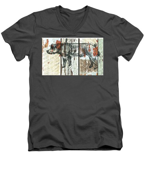 Danish Duroc Boar Men's V-Neck T-Shirt by Larry Campbell