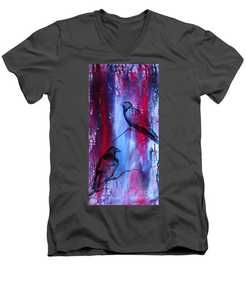Dark Wings Men's V-Neck T-Shirt by Laurianna Taylor