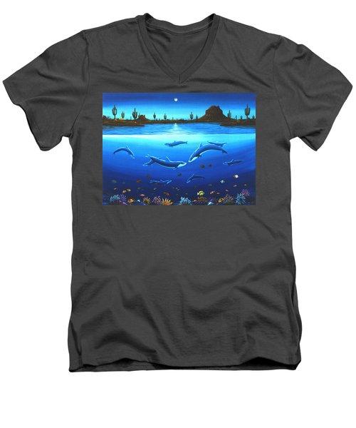 Desert Dolphins Men's V-Neck T-Shirt by Lance Headlee