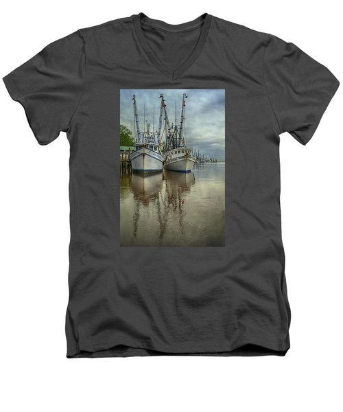 Men's V-Neck T-Shirt featuring the photograph Docked by Priscilla Burgers
