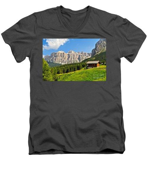Dolomiti - High Fassa Valley Men's V-Neck T-Shirt by Antonio Scarpi